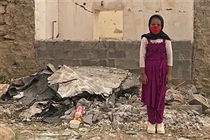 تصویر  نقاشی کودکان زلزله زده کرمانشاه بر صورت کودکان زلزله زده سی سخت +عکس