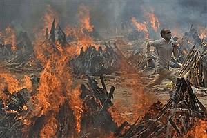 تصویر  سوزاندن اجساد قربانیان کرونایی در دهلی نو + تصاویر