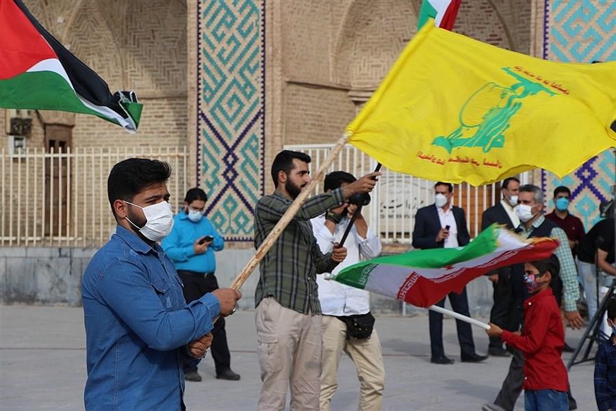 تصویر تجمع یزدی ها در حمایت از مردم مظلوم فلسطین و شهدای کودک افغانستان