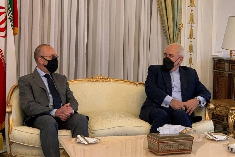 دیدار و گفتگوی ظریف با رئیس کمیسیون سیاست خارجی مجلس سنای ایتالیا