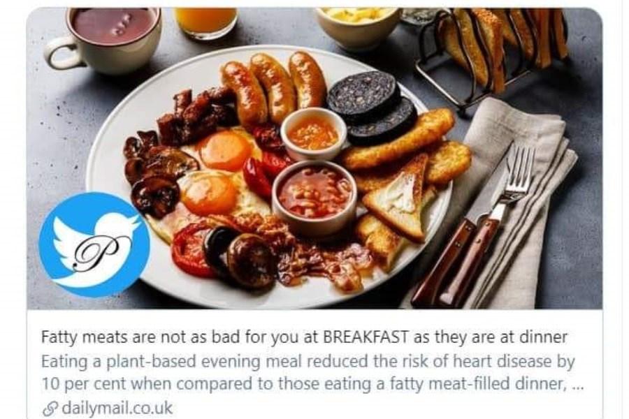 ایرادی ندارد صبحانه غذای چرب بخورید!