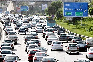 تصویر  ترافیک سنگین در محور کرج - چالوس