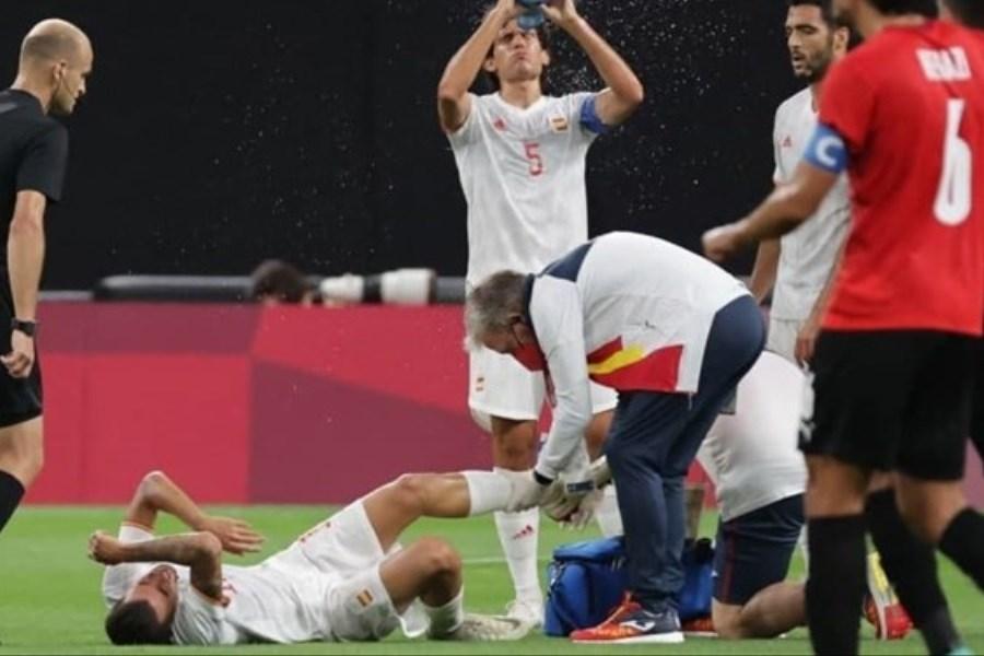 تصویر مصدومیت شدید بازیکن رئال مادرید در المپیک