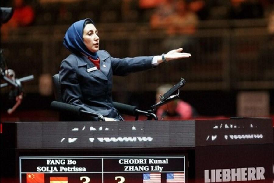 قضاوت داور ایرانی تنیس روی میز در دیدار مرحله یک چهارم نهایی