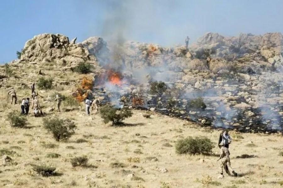 شعله ور شدن دوباره آتش در کوه کرک بناری شهرستان چرام کهگیلویه و بویراحمد