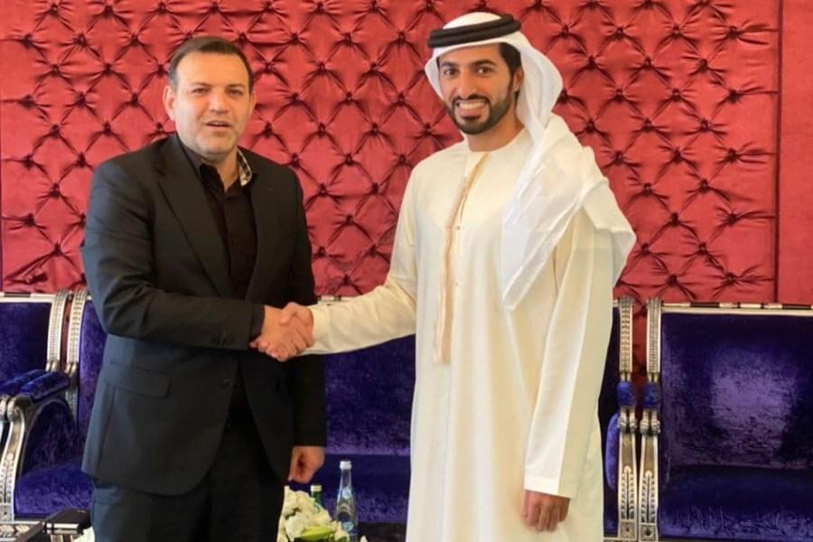 تصویر عزیزی خادم به دیدار همتای اماراتی خود رفت