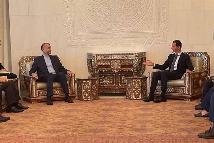 دیدار و گفتگوی امیرعبداللهیان با رئیس جمهور سوریه