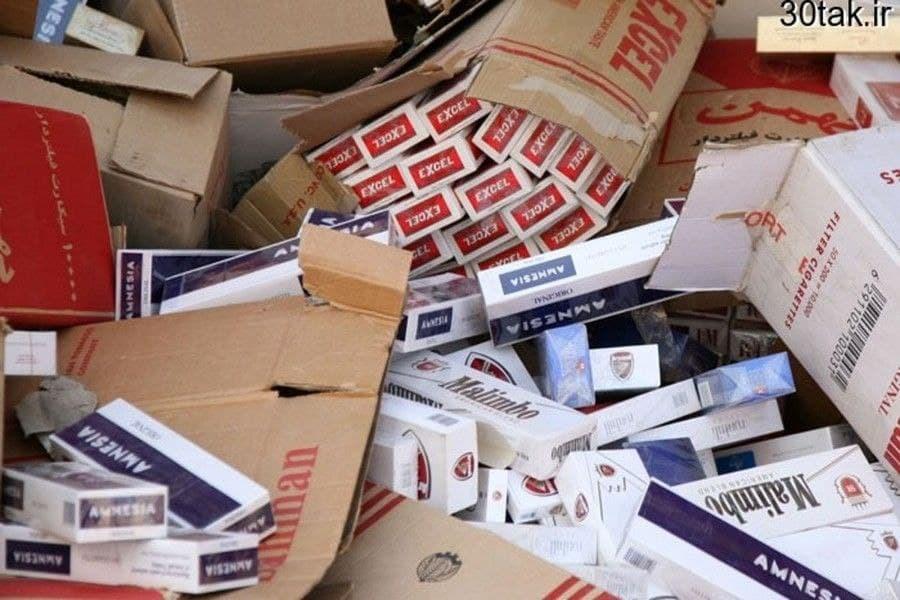 تصویر انبار دپو ۳ میلیون نخ سیکار قاچاق در البرز شناسایی شد